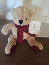 """POTTERY BARN Nicholas Teddy Bear Stuffed Soft Toy Beige/Burgundy Details 8"""" Tall"""