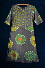 Gudrun Sjoden Dress Falling Leaf & Flower Print Small Khaki Green Brown  (P351)