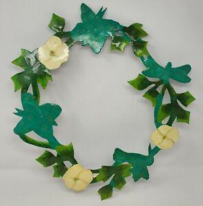 Vintage Green Hand Painted Metal Floral Wreath Haitian Folk Art Made in Haiti
