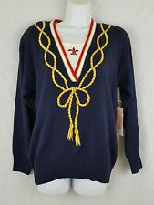 Marisa Christina Navy Blue Gold Fleur de Lis Cord Pullover $108 Sweater Sz L Lg
