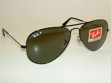 New RAY BAN Aviator Sunglasses Glass Polarized Green  RB 3025 002/58 Black  55mm