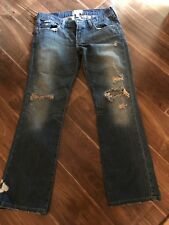 Women's Abercrombie And Finch Destroyed distressed Blue Denim Jeans Size 8