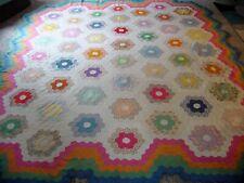 vintage grandmother flower garden feedsack cotton quilt top - pannello patchwork