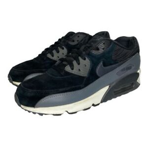 Nike Womens Air Max 90 Running Shoes Black Suede Gray Leather 768887-001 Size 10