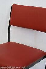 Stapelstuhl, Besucherstuhl, Stuhl, Lederstuhl, rotes Echtleder, Eisengestell.