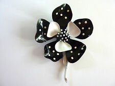 Hedy Enameled Flower Pin Brooch Floral Polka Dot Spots Black White 1960's Vtg
