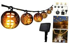 23ft Solar Patio String Lights with 6 Flickering Flame Lantern Remote Control,