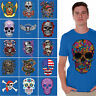 Sugar Skulls T-SHIRT Day Of Dead Shirts Halloween Gift Dia De Los Muertos BLUE
