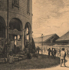 1860 belle eau-forte Paris prison boulevard du Temple République Flameng