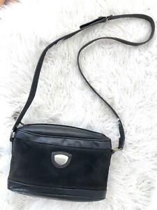 ** vintage GUCCI Black Leather/suede Cross Body Bag **