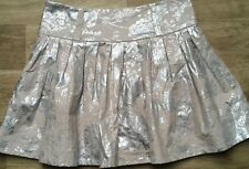 JANE NORMAN Size 8 Short Pleated SKIRT Beige with silver pattern