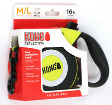 Kong Reflective Retractable Tape Leash 16' ft for Dogs 110lbs max