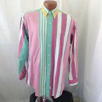 Ralph Lauren Mens Vintage 90s Multicolored Color Block Casual Shirt Small
