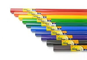 POSTER PAPER ROLLS: 760mm x 10m: 13 COLOURS: CLASSROOM/NURSERY/SCHOOL DISPLAYS