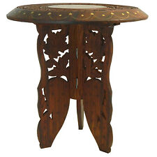 Guéridon démontable 2 pièces 31x32cm Table d'appoint Bois Marqueterie Laiton