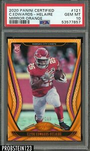 2020 Panini Certified Mirror Orange Clyde Edwards-Helaire Chiefs RC /199 PSA 10
