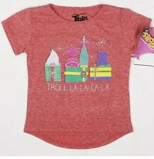 Trolls Girls Tshirt 5T Christmas Graphic Tee Heathered Red High Low Top Shirt