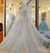 Princess Wedding Dresses Blue Gothic Applique Medieval Bridal Gown Train 3D Lace