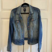 Gap 1969 Factory Distressed Jean Jacket Women Dark Blue Denim Sz S Factory Faded