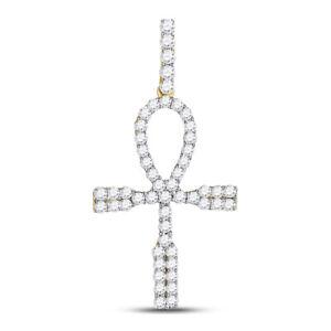 10kt Gelbgold Herren Rund Diamant Ankh Kreuz Anhänger 1.00 Cttw