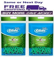 2 pack of 75 Oral B Glide Dental Floss Tooth Picks w/ Scope Outlast Mint 150 ct