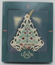 Lenox Christmas Tree Poppies on Blue Ornament Pierced Victorian Lace