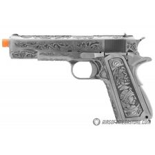 WE Tech Full Metal Gas Blowback Floral Pattern Airsoft Pistol 1911 SILVER
