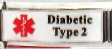 Diabetic 2 Super Link Medical Alert Italian Charm Bracelets Medical Wallet Card