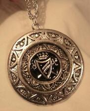 Crowned Swords Shield Silvertone Necklace Handsome Half-Moon Rim Black Enamel