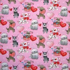 Pet Fabric - Valentine's Day Dogs Puppies Pink - Fabric Traditons YARD