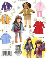 "18"" Girl DOLL Fall Winter Clothes Coats American SEWING PATTERN Simplicity 3551"
