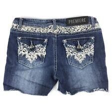 Premier Womens Shorts Denim Cut Off Jean Size 9/10 Bling Lace Flap Pockets