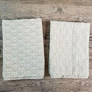 (2) Williams-Sonoma Grande Cuisine GC Beige Jacquard Cotton Monogram Napkins