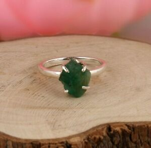 Raw Emerald Silver Stackable Ring Engagement Ring May Birthstone Jewelry