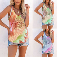 ❤️ Women's Gradient Tie Dye Tank Tops Summer Beach Casual Loose Cami Vest Blouse
