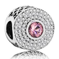 Fashion White/Pink CZ Silver Charm Beads Fit Necklace Bracelet Chain