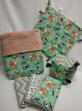 Baby Blanket Taggie Crinkle Sensory Cube  Burp Cloths Woodland Animals Gift Set!