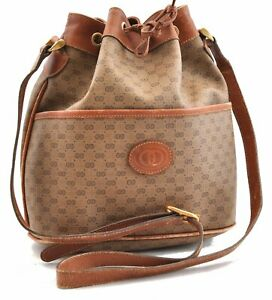 Authentic GUCCI Micro GG PVC Leather Shoulder Cross Body Bag Brown 0030A