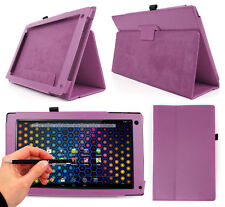 """Purple PU Leather Case For Archos 101 Neon 10.1 """" Tablet + Black 2-in-1 Stylus"""