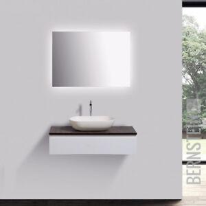 Badmöbel Vision 80cm Weiß LED Spiegel Aufsatzwaschbecken Unterschrank Waschtisch