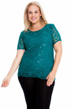 New Womens Top Plus Size Ladies Shirt Sequins Floral Lace Party Xmas Nouvelle