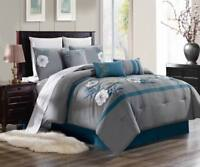 3PC DUVET BED COMFORTER COVER SET SILVER TEAL WHITE EMBROIDERY FLOWERS BRENDA#3