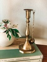 """Vintage Bronze Gold Candlestick Holder with Candle Snuffer 8"""" Tall Home Decor"""