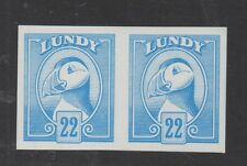 Lundy Islands. 22p pale blue colour trial imperforate pair. Fine MNH.
