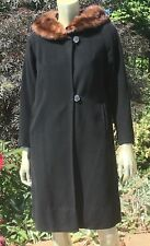 Vintage 60s Pin Up Rockabilly Black Cashmere Coat w/ Mink Fur Collar!  S/M