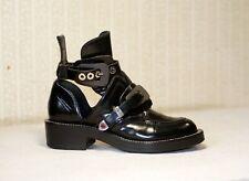 1500$ BALENCIAGA Ceinture black leather cut out combat boots 39-38.5 us8-8.5 uk6