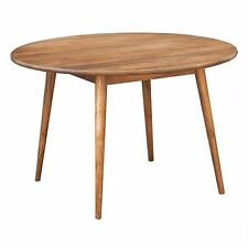Metro 120cm Round Dining Table - solid mango wood - light oak colour