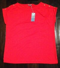 Marks & Spencers jersey top with gold button shoulder detail, size 16