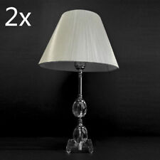 2xCrystal Chandelier Bedside Cafe Table Lamp Faux Silk Thread Shade White