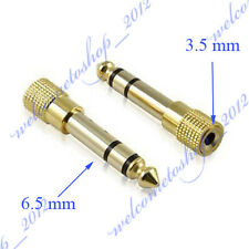 """2 X Gold 1/4"""" 6.5mm Male to Mini Jack 1/8"""" 3.5mm Female Adapter Stereo Plug TRS"""